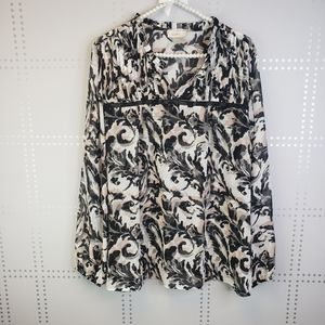 LOFT Pretty Sheer Black and White Blouse